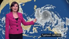 Helen Willetts shows the progress of Typhoon Haiyan