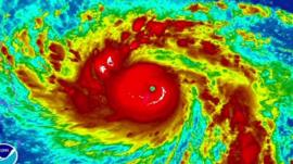 A satellite image shows Typhoon Haiyan picking up strength