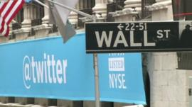 Twitter poster next to Wall Street sign
