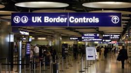 UK Border Control in Terminal Five of London's Heathrow Airport