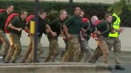 Serviceman running