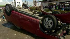 Overturned car at Tacloban's airport