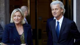 Eurosceptic Dutch politician Geert Wilders (right) and French National Front leader Marine Le Pen, 13 Nov 13