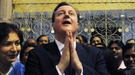 David Cameron during visit to India
