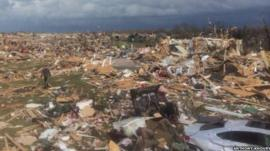 Tornado damage in Peoria, Illinois