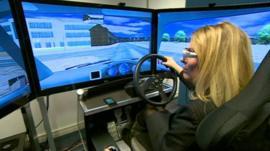 Reporter in car simulator