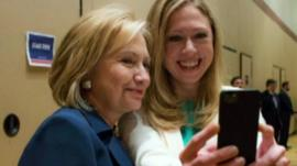 Hillary and Chelsea Clinton taking a