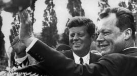 President John F Kennedy with German Mayor of West Berlin Willy Brandt - 1963