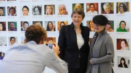 UNDP head Helen Clark is photographed with artist Aowen Jin
