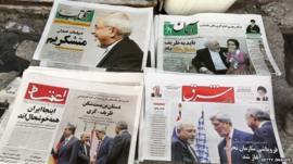 Newspapers on display in Tehran
