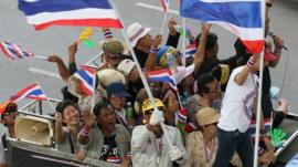 Anti-government protestors in Bangkok, Thailand