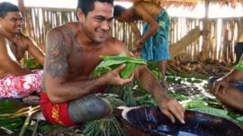 Samoan rugby sevens team enjoy the Sunday meal