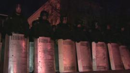 Police line streets in Kiev