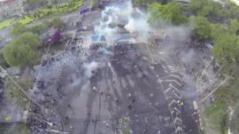 Aerial view of clashes