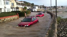 Rhyl cars flooded by storm surge