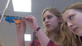 Girls in physics class at Cheney School