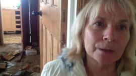 Jane Knapp at her flood damaged home in Walcott, Norfolk