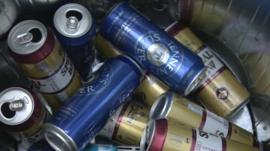 Super-strength cans in the bin