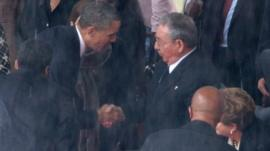 US President Barack Obama and Cuban President Raul Castro
