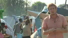 Residents of Bossangoa living in a makeshift camp in the playground of a school