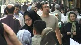 Crowds in a street in Tehran