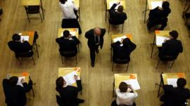 School pupils sitting an exam