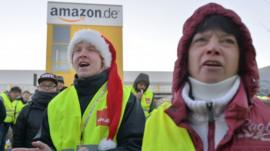 Amazon employees striking outside one of the company's German centres