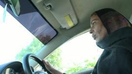 Aliya Bibi driving a car