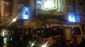 The scene outside the Apollo