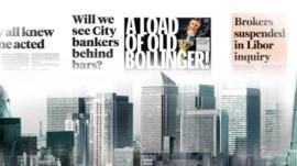 Newspaper headline about Libor scandal