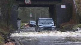 4x4 driving through flood water