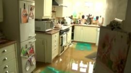 A flooded kitchen