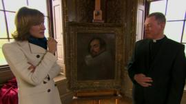 Fiona Bruce and Father Jamie MacLeod with the Van Dyck painting