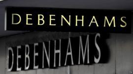Debenhams shop sign