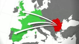 Map of countries potentially affected by the migration of Bulgarian and Romanian citizens
