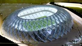 Model of football stadium in Qatar