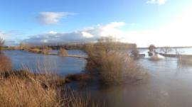 Flooding at Holt, near Wrexham
