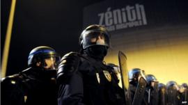 French police officers in front of the Zenith theatre, Nantes