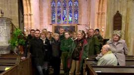 Residents of Muchelney, Somerset, in village church
