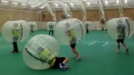 Hampshire County Cricket players in bubble suits