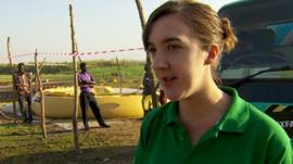 Oxfam's Grace Cahill at a temporary water treatment plant in South Sudan