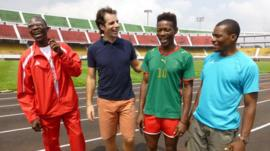 BBC reporter Mark Beaumont with the Cameroon's Para-sports team
