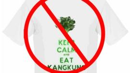 A t-shirt saying keep calm and eat Kangkung, with a not allowed sign over it.