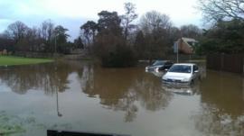 Flooding on Fairway, Copthorne, near Crawley, East Sussex, 17/01/2014