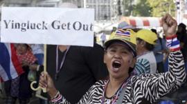 A Thai anti-government protester during a rally in Bangkok