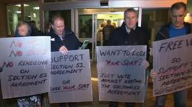 Protesters outside Bracknell Forest Council meeting