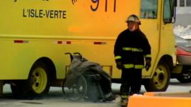 Fireman at scene of deadly fire at home for the elderly in L'Isle-Verte, Quebec