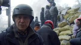 Steve Rosenberg behind the protesters' barricades