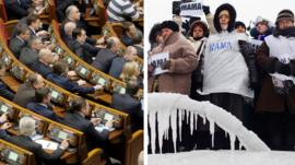 Ukraine Parliament and protesters