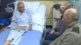 Patient Walter Church with his family in hospital